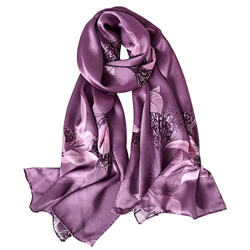 STORY OF SHANGHAI Bufandas de 100% Seda Flores Pañuelo de Morera Grande Mujer Chal Wraps Estolas Madre y Regalos Alta 170cm*55cm,Acacia Púrpura