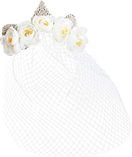 Lurrose Rose Headband with Lace Veil Mask Face Full Cover Vintage Crown Birdcage Eyemask for Halloween Wedding Party