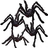 JOYIN 4 Stück Halloween Realistisch Haarige Spinnen Set, Wertvolle Halloween Requisiten, Halloween Spinnen Set für Indoor und Outdoor Dekoration (Eine 120cm, Zwei 90cm und Eine 75cm)