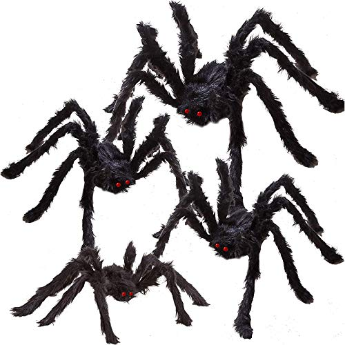 4 Halloween Outdoor Decorations Hairy Spider Set,Realistic Scary Fake Spider Hairy Spider Props for Halloween Yard…