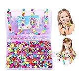 Anlising Beads Kits Set pour Enfants Enfants Artisanat Fabrication de Bijoux Artisanat Bricolage Collier Bracelets coloré Acrylique Perles Artisanale Cadeau pour la fête des Enfants de Noël