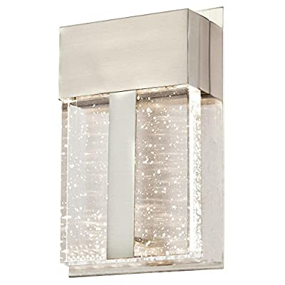 Westinghouse Lighting 6349000 Cava II One-Light LED Outdoor Wall Fixture, Brushed Nickel Finish with Bubble Glass, 1