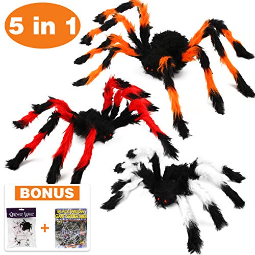 Aitbay Halloween Spider Decorations, Halloween Scary Hairy Spider Web Set, 3 Pack Fake Colorful Spider, Halloween Spider Web, Cobwebs Props for Indoor, Outdoor and Yard Creepy Decor