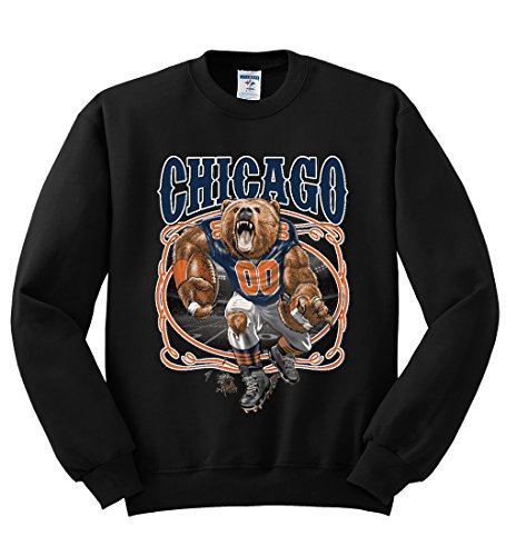Chicago Fan | CHI Fantasy Football | Mens Sports Crewneck Graphic Sweatshirt, Black, 2XL