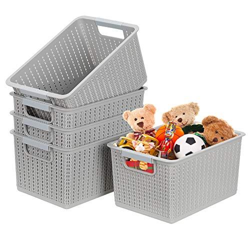 5er-set Kunststoff-Aufbewahrungskörbe Stapelbare Desktop Aufbewahrungsbox Transportbox Crate Regal Gewebter Dekorativer Korb Schrank Snacks Organizer Küchencontainer Büro Aufbewahrungsbehälter - Grau