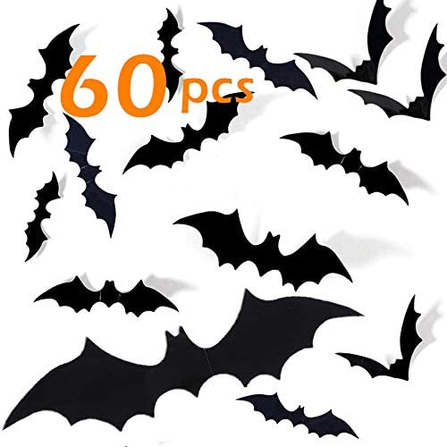 Halloween Bats Decorations 60 Pcs 3D Scary Deluxe Wa Paper PVC for Topics on TV