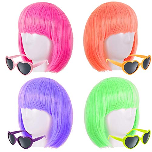 Party Wigs Colorful Short Bob Hair Wig Party Sunglasses Set Include Neon Short Bob Hair Wigs Halloween Christmas New year Birthday Party Cosplay Costume Hairpiece Party Favor For Women Girls Dress Up