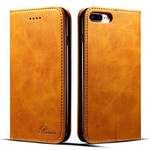 iPhone8Plus ケース 手帳型 iPhone 7 Plus ケース 手帳 - Rssviss アイフォン8プラスケース マグネット カード収納 Qi充電対応 横置き機能 PUレザー[iPhone 7 Plus/iPhone 8 Plus 5.5 inch 適応] W1 レトロブラウン