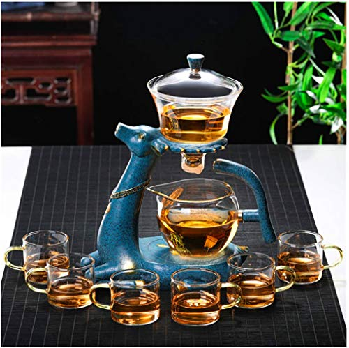 Aoheuo Kungfu Glass Tea Set Set with Heater Magnetic Water Diversion Rotating Cover Bowl Lazy Semi-Automatic Glass Teapot (Blue)