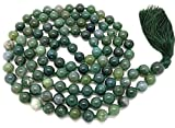 Givereldi Agata di muschio mala beads necklace bracelet 108 beads 8 mm wide - with knots in between plus 1 large guru bead - prayer, meditation or tassel necklace