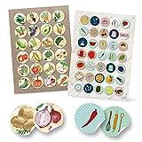 Logbuch-Verlag 24 + 35 runde Aufkleber Küche Essen Lebensmittel Ernährung Sticker selbstklebend Deko Etiketten basteln Scrapbooken