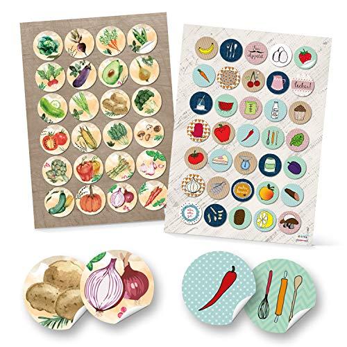 Logbuch-Verlag 24 + 35 runde Aufkleber Küche Essen Lebensmittel Ernährung Sticker selbstklebend Deko Etiketten Kinderaufkleber basteln Scrapbooken