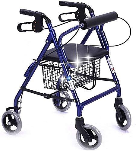 Ältere faltbaren Rollstuhl for Oma Opa GIF Folding Rollator Walker mit Sitz, Ältere Four Wheel Walkers, Abnehmbarer Rückenstütze Gepolsterte Sitzhöhenverstellbar Removable Storage Bag Comfort Dri