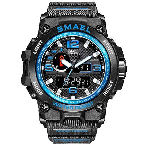 SXXYTCWL Reloj de los Hombres Reloj de Pulsera Resistente al Agua 50M LED Reloj de Cuarzo Reloj del Deporte del Reloj del Deporte Masculino Digital jianyou (Color : Blue)