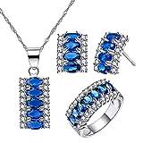 Uloveido Women's Royal Blue Cubic Zirconia Stud Earrings/ 5 Stone Necklace/ 7 Stone Eternity Ring/Wedding Engagement Crystal Jewelry Set Platinum Plated T502-Darkblue-6