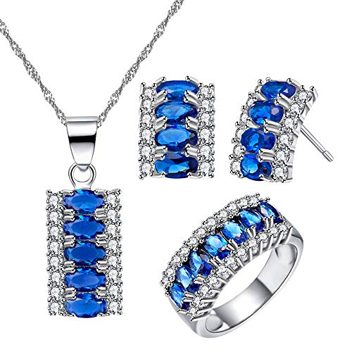 Uloveido Charm Half Moon Necklace Set 7 Stone Birthstone Ring and Stud Earrings Set Wedding Party Jewellery for Women