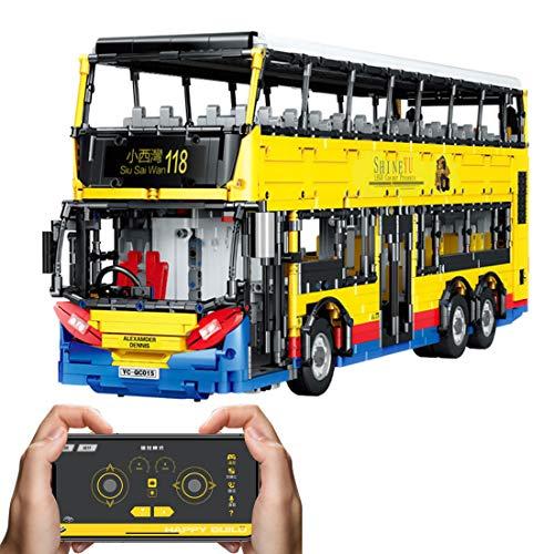 Sunbary Juego de construcción de autobús de dos pisos, 2,4 GHz/APP RC 1:15, modelo de autobús de dos pisos, 4255 piezas, juguete de construcción compatible con Lego Technic