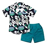 AmzBarley Toddler Boys Clothes Button Down Leaf Floral Shirt + Shorts Set Kids Short Sleeve Bowtie Top and Shorts Summer Hawaiian Outfit Set 2-Piece Casual Formal Clothes Blue Size 9-12Months/Tag 80