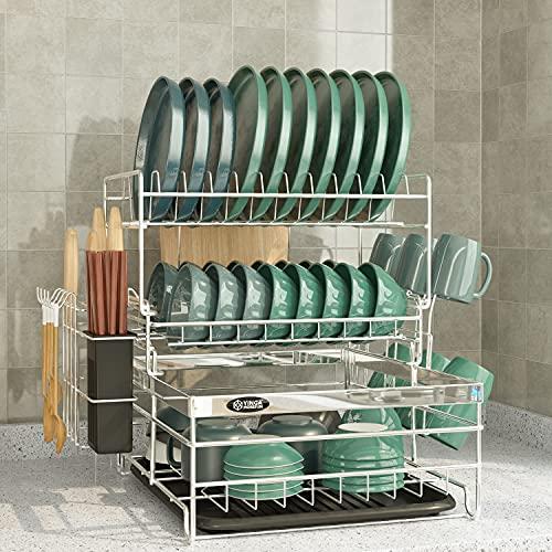 Abtropfgestell Geschirr, 3-stufiges Geschirrabtropfgestell, Abtropfgitter, Geschirr Abtropfständer, Geschirrabtropfkorb, Geschirrträger für die Küchentheke, Geschirrablage, Silber