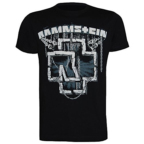 Rammstein Herren T-Shirt In Ketten, Offizielles Band Merchandise Fan Shirt schwarz mit mehrfarbigem Front Print (M)