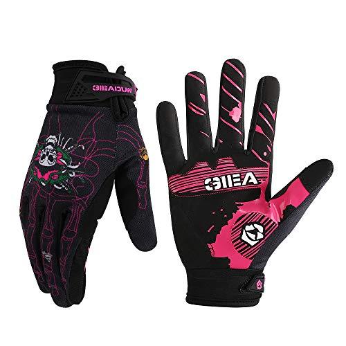 HTTOAR Fahrrad-Handschuhe, volle Finger, Mountainbike-Handschuhe mit rutschfestem stoßdämpfendem Polster, atmungsaktiv, Touchscreen-Rennradhandschuhe für Herren/Damen (schwarz-C, XL)