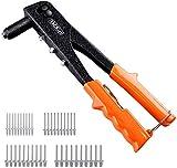 TACKLIFE Pop Rivet Gun, Rivet Gun with 40Pcs Metal Rivets, 4 Replaceable Nozzles