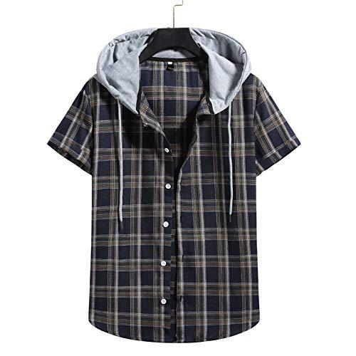 Yowablo Hemd Bluse Oberteile Tunika Herren Kurzarmhemd mit Kapuzen-Karo, Herren Sommer lässig, lockeres Revers (XL,5Marine)
