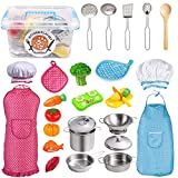 Kids Kitchen Pretend Play Toys,Cooking Set with Stainless Steel Cookware Pots and Pans Set,Cooking Utensils,Apron,Chef Hat,and Cutting Vegetables Play Cooking Set, Toddlers & Children Boys Girls