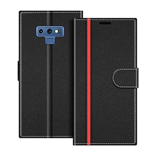 COODIO Handyhülle für Samsung Galaxy Note 9 Handy Hülle, Samsung Galaxy Note 9 Hülle Leder Handytasche für Samsung Galaxy Note 9 Klapphülle Tasche, Schwarz/Rot