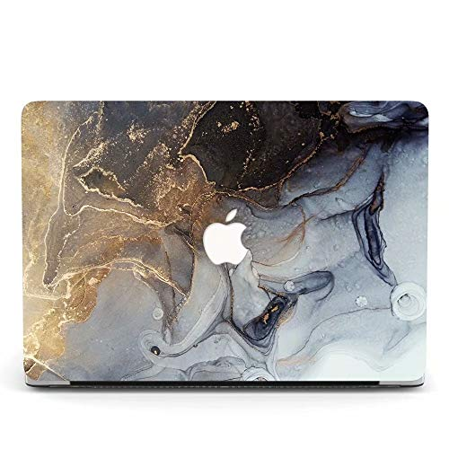 MacBook Pro 13 Case Retina Display 2012-2015 Ver A1425 and A1502, Jiehb Plastic Hard Case Only Compatible MacBook Retina 13 inch (NO Touch) - Marble Grey Gold