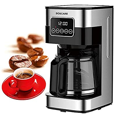 BOSCARE 10 Cups Programmable Coffee Maker CM1429TA-UL, Keep Warm Drip Coffee Machine,with Permanent Filter Coffee Maker