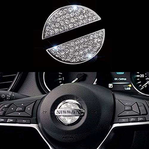 Bling Steering Wheel Logo Caps for NISSAN,DIY Diamond Crystal Sparkly Steering Wheel Emblem Accessories Badge Decals Interior Decorations Compatible for Women for NISSAN