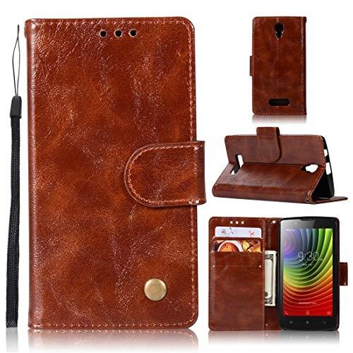 RONGCHAO Tasche für Mobiltelefon for Lenovo A2010 Retro Kupfer Knopf Crazy Horse Horizontal Flip PU-Leder-Kasten mit Halter und Card Slots und Wallet und Lanyard (weinrot) Shell Cover (Farbe : Brown)