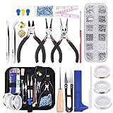Queta Kit de DIY herramientas de fabricación de joyas, Herramientas para Hacer Exquisitos Pendientes, con 2 Rollos de Línea de Cristal Elástico y Perlas de Colores, para Hacer Joyas y Reparación (1)