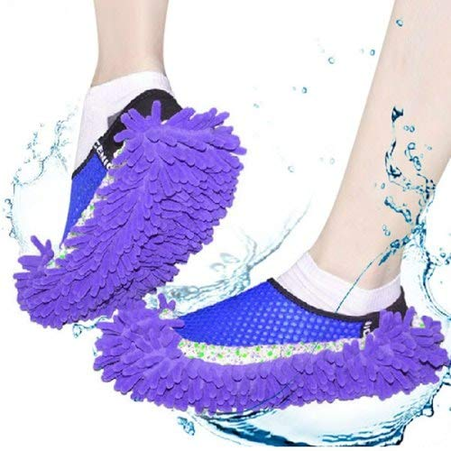 WZhen Chenille Mopping Hausschuhe Quick Home Pair Boden Polieren Staub Praktische Reinigungsschuhe - Lila