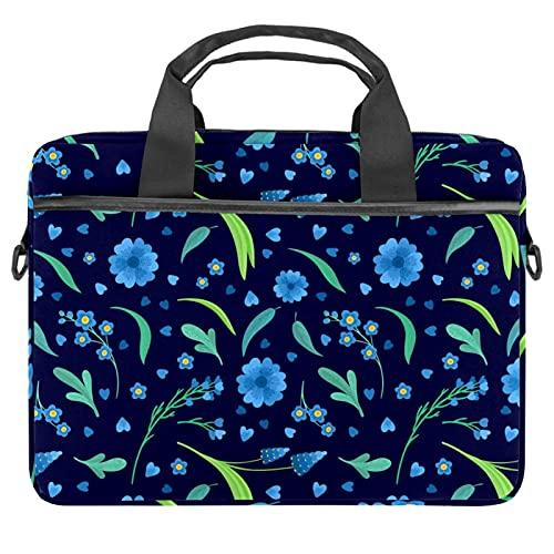 Blue Flowers Blossoms - Funda para portátil (13,4 a 14,5 pulgadas, lona), diseño de flores