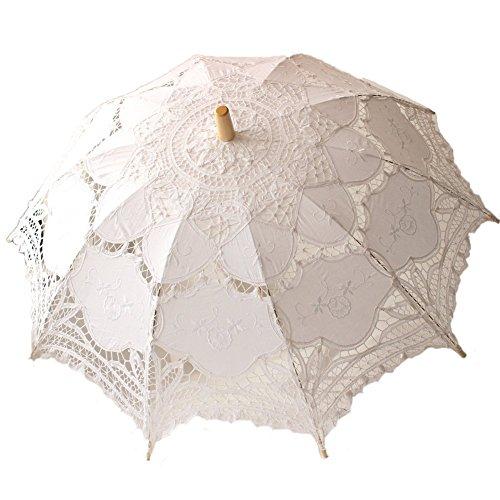 Jellbaby Sombrilla de encaje de boda blanco paraguas victoriano traje accesorio de novia decoración de fiesta (blanco)