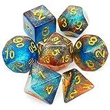 Haxtec DND Dice Set Tea Blue Iridescent Glitter Polyhedral D&D Dice for RPGs-Fire Opal