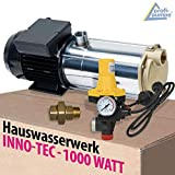HAUSWASSERWERK HAUSWASSERAUTOMAT SELBSTANSAUGENDE KREISELPUMPE PUMPE INNO-TEC 1000 - LEISE ENERGIESPARSAME Edelstahl - mit Durchflusswächter (Pumpe INNO-TEC 1000 mit AC3vk)