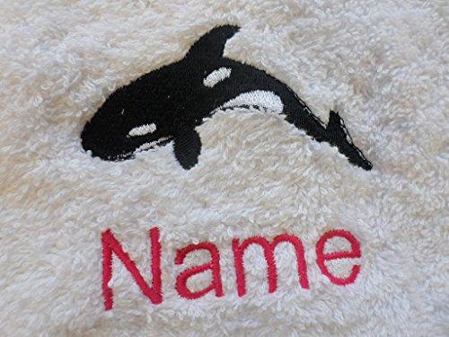 EFY Handtuch, Badetuch oder Badelaken, personalisierbar mit Orca-Logo und Wunschnamen (Handtuch 50 x 90 cm)