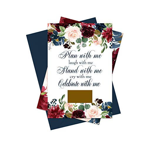 Inked Floral Bridesmaid Scratch Off Cards and Envelopes (8 Pack) Includes Proposals for Maid of Honor and Matron