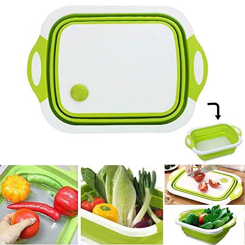 Shackcom 3 en 1 Tabla de Cortar Plegable Multifunción Portátil-Cesta de Drenaje Plegable-con Orificio de Drenaje para Verduras Frutas,para Cocina Viajes al Aire Libre Camping Senderismo-Verde