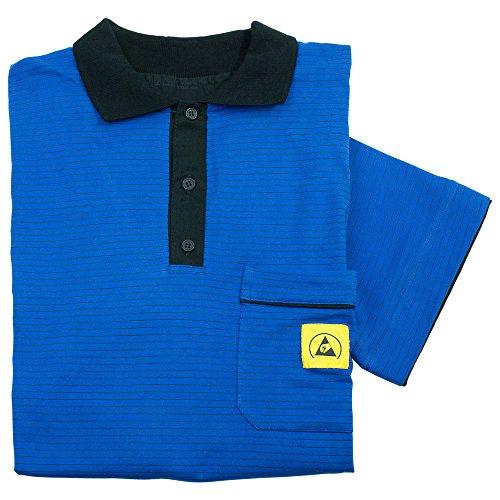 Wetec ESD-Polo-Shirt light, mit schwarzem Kragen, Größe XXL, blau/schwarz