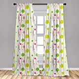 Ambesonne Green and Pink Curtains, Doodle Style Random Wavy Stripes with Big Small Spots Art Theme, Window Treatments 2 Panel Set for Living Room Bedroom Decor, 56' x 63', White Green
