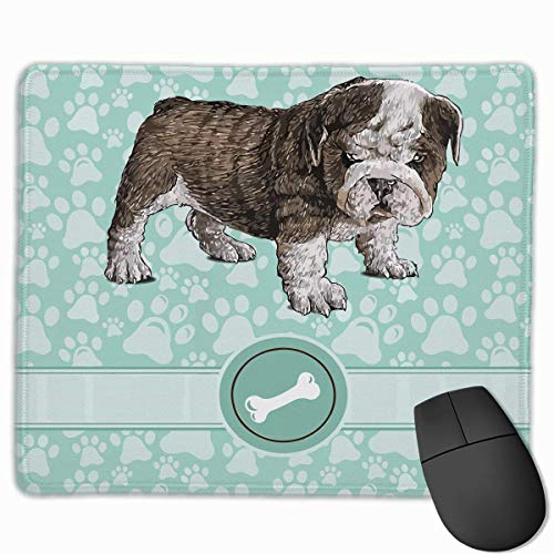 Whecom Furry Doggy Puppy Bone Non-Slip Personalized Designs Gaming Gaming Mauspad Black Cloth Rectangle Mousepad Art Natural Rubber Mouse Mat with Stitched Edges 9.8x11.8 Inch