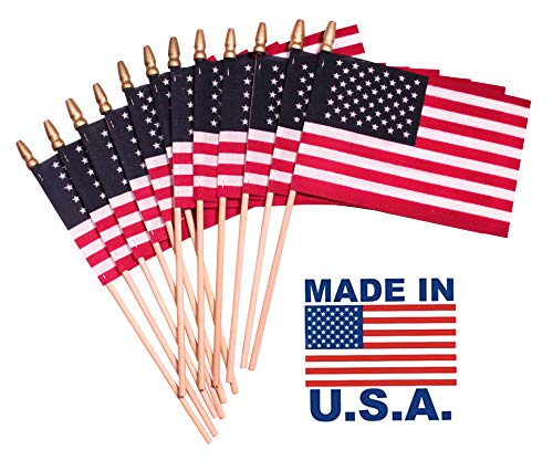 TUTARE 50 Handheld Spearhead American Flags -4 x 6 inch. Stick Flags with SpearTop Great for Patriotic Decorations or Celebrations Set of 12