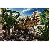 Cassisy 2,2x1,5m Vinilo Telon de Fondo Feroz Escena de Dinosaurio Montaña Cielo Azul Plantas Verdes Fondos para Fotografia Party Photo Studio Props Photo Booth