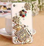 iPhone 5c Case - crystal_phonecase Luxury 3D Bling Handmade Jewelled Pearl Crystals Diamond Clear Case Cover for Apple iPhone 5c (Perfume Bottle with Flowers)