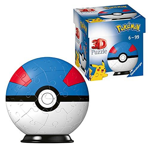 RAVENSBURGER PUZZLE Ravensburger 11265-Puzzle 3D Pokéballs (54 Piezas, para Fans de Pokémon a Partir de 6 años), Color Blanco (11265)
