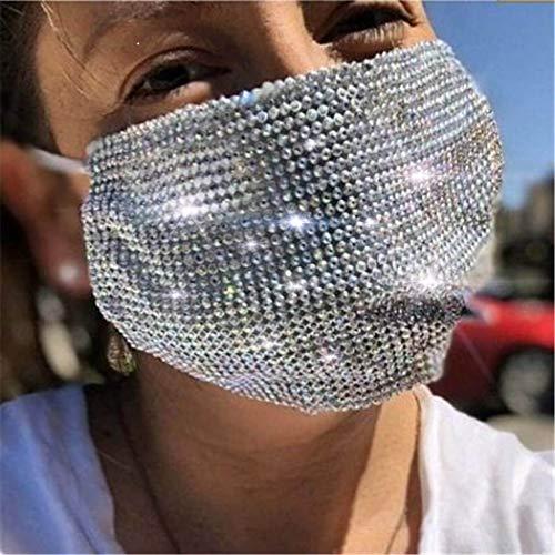IYOU Máscaras de malla de cristal con purpurina, color blanco, brillantes, reutilizables, para Halloween, decoración de disfraces, joyería para mujeres y niñas
